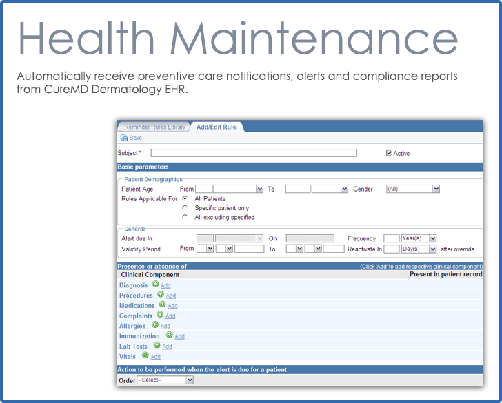 CureMD Health Maintenance