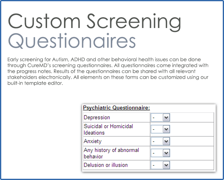 CureMD Screening Questionnaires