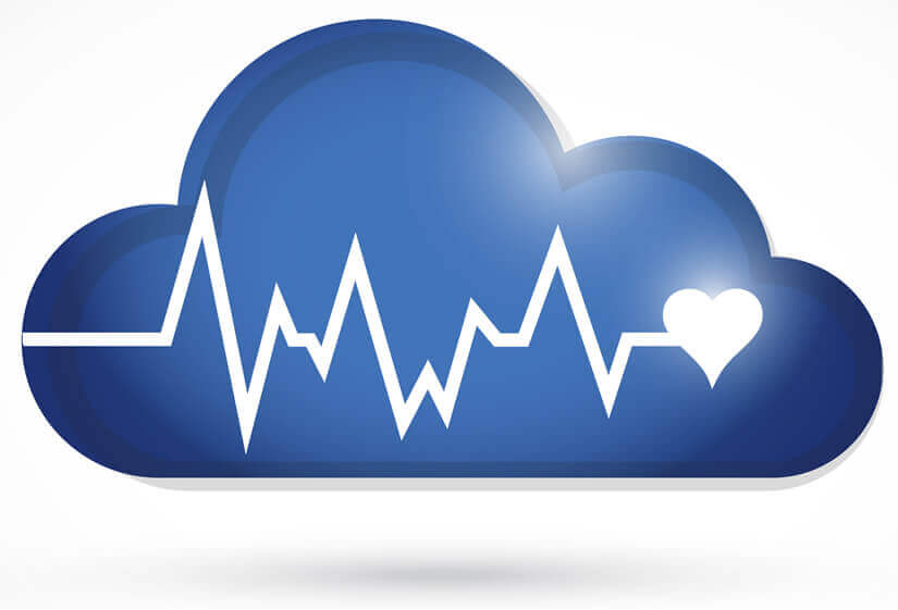 Cloud with heartbeat.